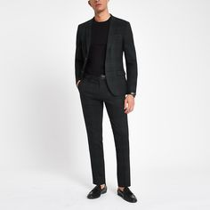 Shop our new Green check super skinny fit suit jacket at River Island today. Green Suit, Green Jacket, Trouser Suits, Trousers, New Mens Suits, Skinny Fit Suits, Checked Suit, 3 Piece Suits, Super Skinny