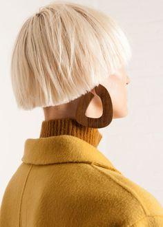 "#newarrivals #sophiemonet #dark #wood #bell #hoop #abstract #earrings #accessories #thefrankieshop #frankienyc #frankiegirl Lightweight, Abstract Earrings w/14K Gold Filled Posts for Pierced Ears Shedua Wood 3""L x 2.5""W By Sophie Monet Handmade in California"
