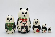 Panda Nesting doll stacking dolls matryoshka by artmatryoshka