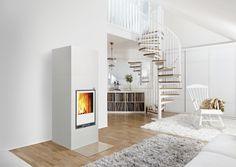 Hiisi 2 fireplace with white coating.