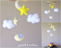 Baby Mobile - Cloud Mobile - Yellow and Gray Mobile  - Baby Mobile - Pick your colors :). $68.00, via Etsy.