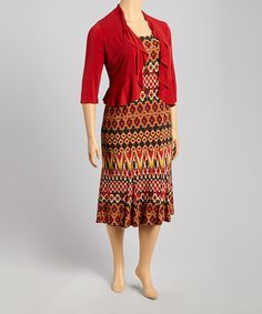 Another great find on #zulily! Red Ancient Henna Tank Dress & Shrug - Plus by Danny & Nicole #zulilyfinds