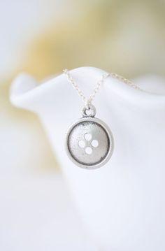 Silver Button Necklace