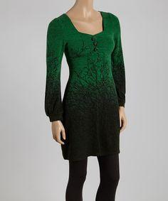 Unique Green & Black Branches Tunic 90% acrylic / 10% nylon vegan cruelty free dress 36 inches long. Empire waist very flattering.