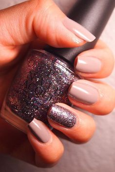Glitter accent nail - the glitter color is called Mad as a Hatter by… - #accentnails #accent #nails #FrenchTipNails