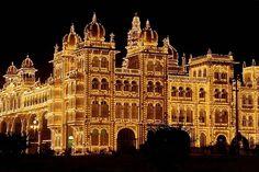 The Lights of The Amba Vilas Palace, Mysore, India