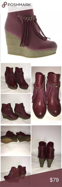 """Sbicca Zepp Women's Boot Brand  Sbicca Style Women's Casual Boot Condition  Worn once Material  Synthetic Heel Height  4 Product Features  The added height and foxy flair sets this boot apart Faux leather upper Fringe detail Zipper closure Lightly cushioned footbed 4"""" wedge heel.....EXCELLENT CONDITION WORN ONCE....NO BOX Sbicca Shoes Ankle Boots & Booties"""