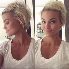 Blonde pixie with twisted bangs by Krissa Fowles My favorite cut! Growing Out Short Hair Styles, Growing Out Hair, Curly Hair Styles, Growing Out Undercut, Growing Out Pixie Cut, Grown Out Pixie, Short Hairstyles For Women, Pretty Hairstyles, Hairstyle Ideas