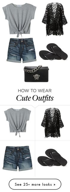 """""""Cute Summer Outfit"""" by lsantana13 on Polyvore featuring WithChic, Canvas by Lands' End, Chloé, Havaianas and Versace"""