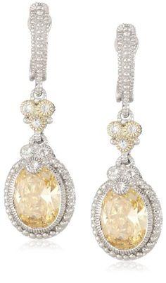 "Judith Ripka ""Estate"" Yellow Oval Stone Earrings"