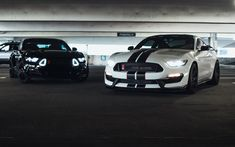 Download wallpapers Ford Mustang, 2017, Muscle Cars, Black, Mustang, sports coupe, american sports cars, tuning, White Mustang, Ford