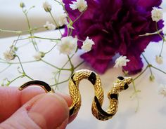Snake pin, Gold snake pin, Gold and black snake jewelry, snake jewelry, gold snake brooch.... by grampasattic on Etsy https://www.etsy.com/listing/130618337/snake-pin-gold-snake-pin-gold-and-black