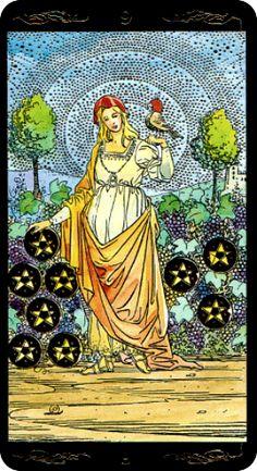 Golden Universal Tarot — Nine of Pentacles