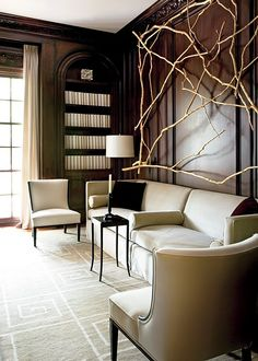 .Love the branch sculptural wall hanging for the family room.