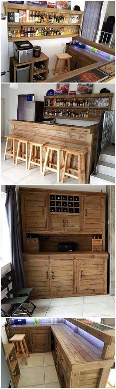Diy projects with pallets wood pallet creations Pallet Bar Plans, Pallet Furniture Plans, Deck Furniture, Furniture Ideas, Pallet Wall Decor, Pallet Wall Shelves, Pallet Walls, Diy Pallet Projects, Pallet Ideas
