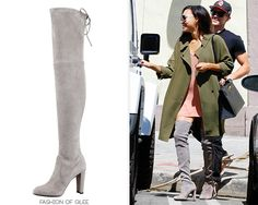 Naya Rivera and Ryan Dorsey go to lunch, Hollywood, August 21, 2014 Stuart Weitzman 'Highland' Boots - $795.00 Worn with: Topshop coat, Hermès bag