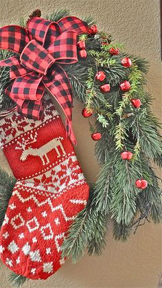 A festive red stocking and wreath!!! Bebe'!!!