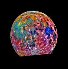 This image of the Moon was taken by the Galileo spacecraft as it passed by. It is a composite of images taken in three different colors.  The color scheme is exaggerated to emphasis composition differences. Blue areas are titanium rich, orange areas are titanium poor and purple areas are iron poor.  ~via pinterest
