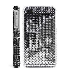 Rhinestone Skull & Cross-bone Hard Back Cover Case for iPhone 4 (Silver). $9.99, via Etsy.