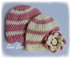 Handmade Crochet Lovliness by icrochetedthis on Etsy Crochet Baby Hats, Cute Crochet, Hand Crochet, Flower Hats, Baby Flower, Baby Girl Beanies, Twin Baby Girls, 2nd Baby, Button Flowers