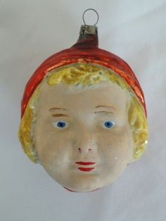 Antique German Glass Christmas Ornaments | Vintage German Glass Christmas Ornament Flapper Girl Head | eBay