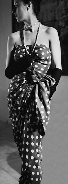 Polka Dots •~• vintage lady in Cristobal Balenciaga bustier dress, black and white photograph, 1948