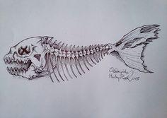 Dead fish by MartwyPixel on DeviantArt Skeleton Drawings, Fish Skeleton, Skeleton Tattoos, Skeleton Art, Skull Drawings, Bone Drawing, Koi Fish Drawing, Fish Drawings, Fish Bone Tattoo