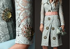 Burberry gem embellished lace trench coat.