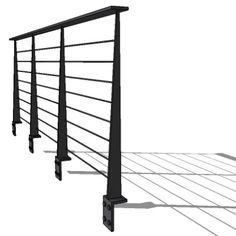 Modern metal cable railing.