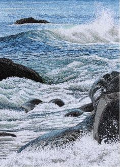 """Alison Holt >> """"Crashing Waves and Sea Spray"""" Embroidery"""