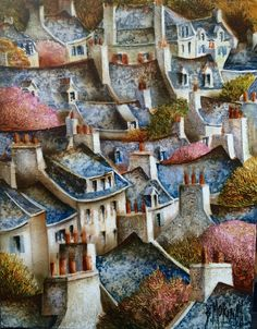 Les toits de Pont Aven peinture de Bernard Morinay. City Painting, Naive Art, French Artists, Brittany, Folk, France, Architecture, House Styles, Inspiration