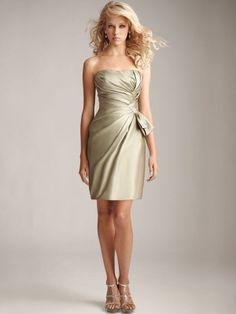 Elegance Strapless Sage Satin Wedding Party Dress