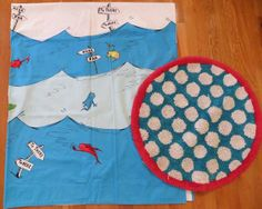Nice POTTERY BARN KIDS DR. SEUSS One Fish Two Fish Shower Curtain Round Rug
