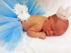 Blue and White Newborn Tutu and Crown Photo Prop by ShirleyTemples, $32.00