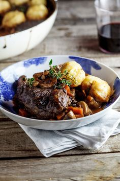 This slow-cooked beef shin stew is rich and flavorful. It is the perfect comfort food recipe served with fluffy Parmesan dumplings. Beef Shin Recipes, Slow Cooker Recipes, Cooking Recipes, Slow Roast Beef, Slow Cooked Beef, Beef Stew With Dumplings, Soups And Stews, Beef Stews, Food Processor Recipes