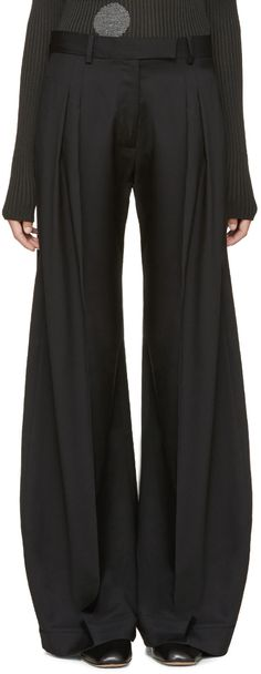 J.W.Anderson - Black Pleated Wide-Leg Trousers