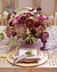 This deep plum mix was made from dahlias, ranunculus, scabiosa, and chocolate cosmos.