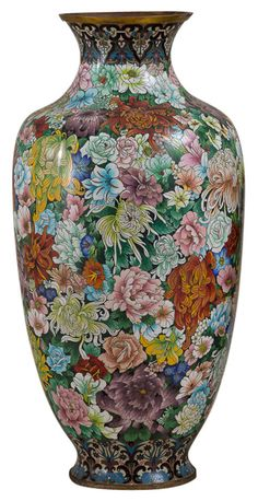 Chinese cloisonné vase with mille fleurs decoration, circa 1930-1950. More @ FOSTERGINGER At Pinterest
