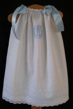White Eyelet Pillowcase Dress with Monogram