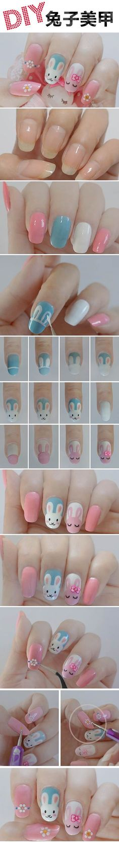 MendaBeauty wants to see everyone with cute nails this spring! Try this easy step-by-step DIY nail art tutorial featuring bunny rabbits. Perfect for upcoming Easter or an adorable base design for baby-shower bunnies. Cute Nail Art, Nail Art Diy, Diy Nails, Cute Nails, Nail Nail, Nail Polishes, Trendy Nails, Diy Art, Diy Easter Nails