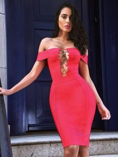 7a45b2260a5 Rosanna Ruby Pink Off Shoulder Bandage Dress Vestido Bandage