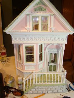 Shabby pink victorian 1:12 by It's a miniature life...is playing with clay, via Flickr