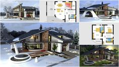 The architect Gabriel Georgescu presented his awesome design of a house with unusual facade and outside look. This is a perfect home for people who love unusual things, who live modern life and want. Home Design Plans, Modern Family, Kirchen, Landscape Design, Facade, House Plans, Cool Designs, Exterior, House Design