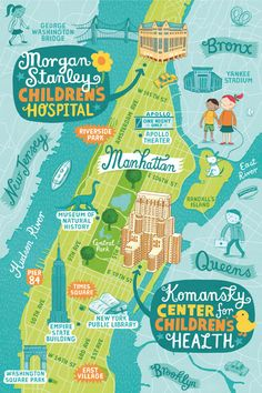 Map showing the locations of New York Presbyterian Hospital's Children's centres. Part of an editorial and bus stop/ mall poster advertising campaign. Client: New York Presbyterian Hospital. Agency: Munn Rabôt Design By: Linzie Hunter Travel Maps, Travel Posters, Lettering Design, Hand Lettering, Plan Ville, Bel Art, Travel Photography Tumblr, Map Design, Graphic Design