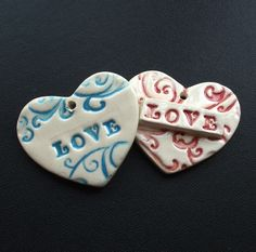 Set of two ceramic LOVE heart pendants