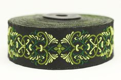 35 mm medieval motive Green jacquard Ribbons (1.37 inches) - Jacquard ribbon -  jacquard trim - craft supplies - collar supply - trim by RibbonLands on Etsy https://www.etsy.com/listing/504502528/35-mm-medieval-motive-green-jacquard