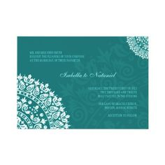 Teal Damask Wedding Invitation