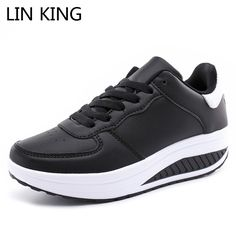 LIN KING New Arrival Swing Shoes Breathable Spring Women Casual Wege Heels Platform Shoes Lace Up Low-top Slim Elevator Shoes