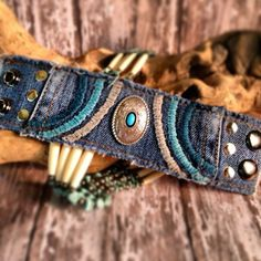 Denim Cuff Denim Bracelet Buffalo Leather Cuff by dgierat on Etsy