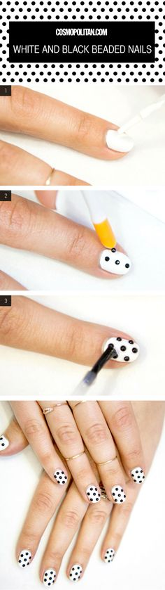 Nail Art How-To: White and Black Beaded Nails - Because polka dot nails are the shit.